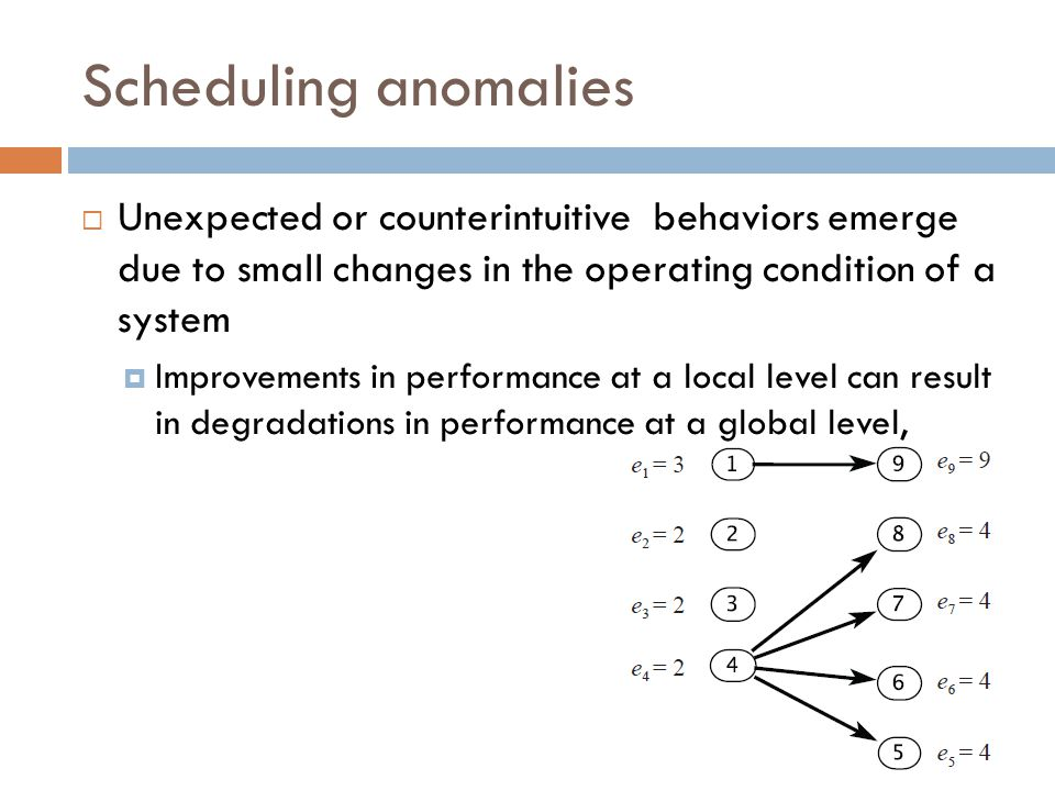 Scheduling anomalies Unexpected or counterintuitive behaviors emerge due to small changes in the operating condition of a system.