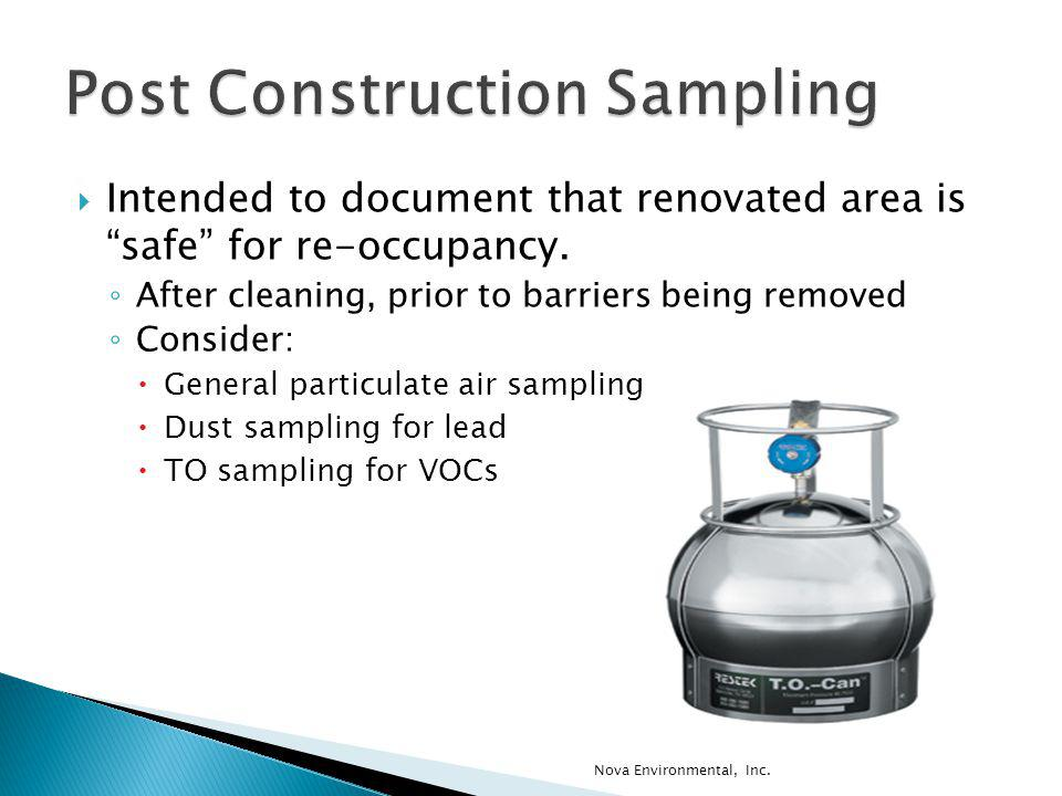 Post Construction Sampling