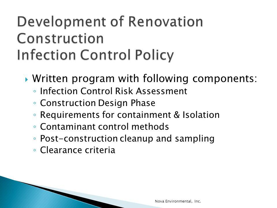 Development of Renovation Construction Infection Control Policy