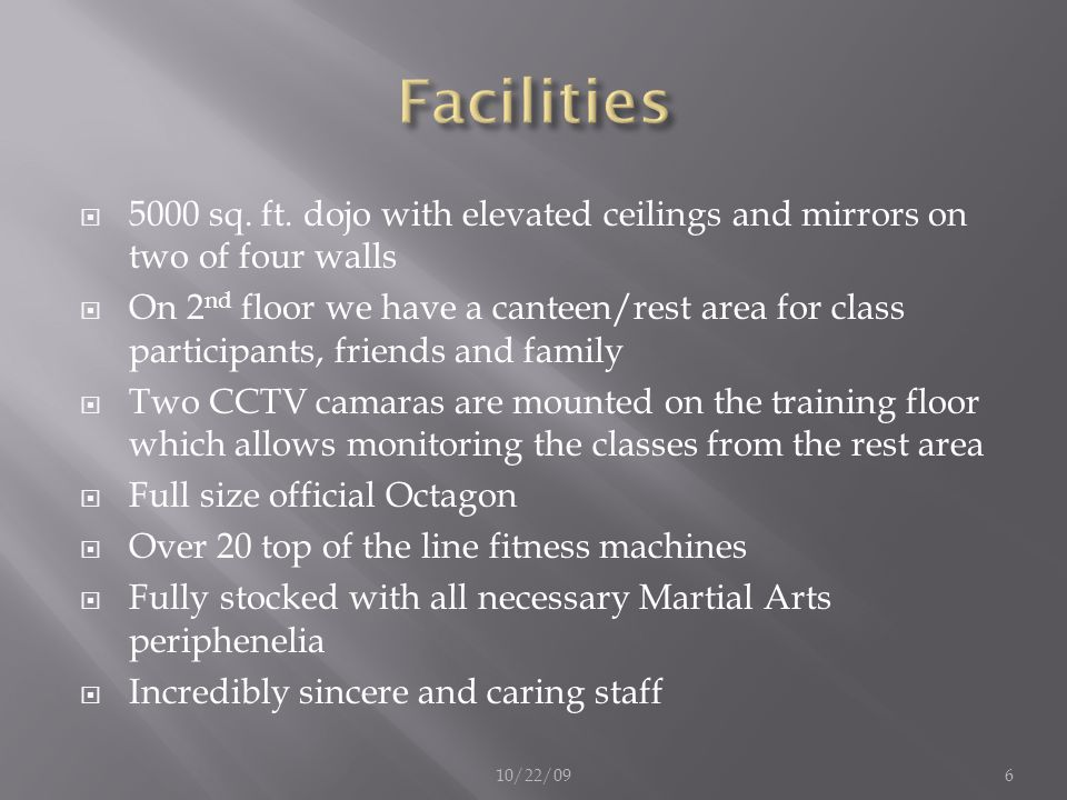 Facilities 5000 sq. ft. dojo with elevated ceilings and mirrors on two of four walls.