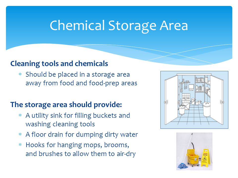 Chemical Storage Area Cleaning tools and chemicals