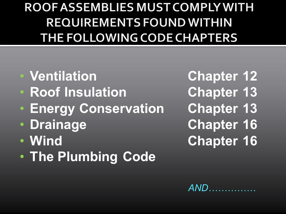 Roof Insulation Chapter 13 Energy Conservation Chapter 13