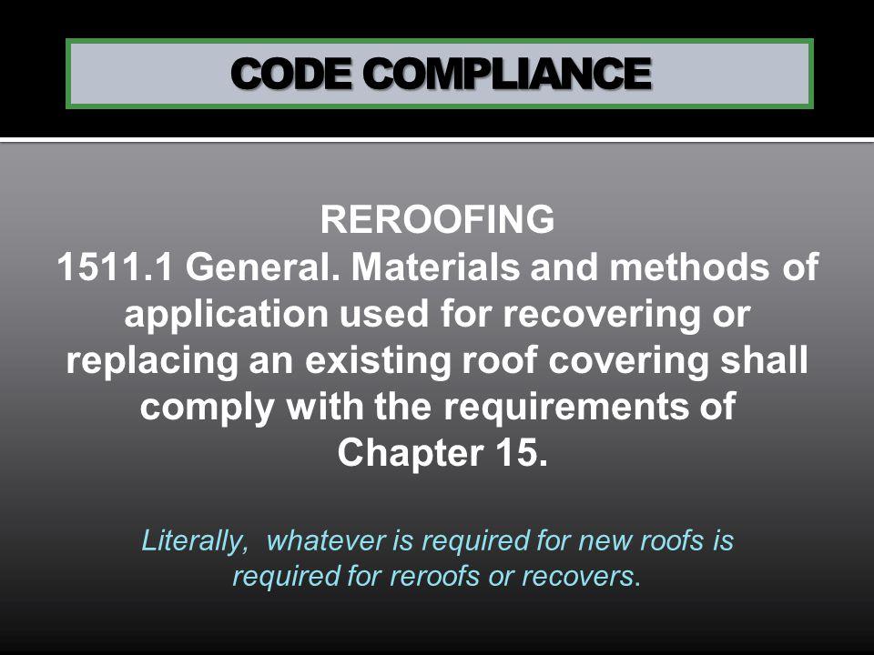 CODE COMPLIANCE REROOFING