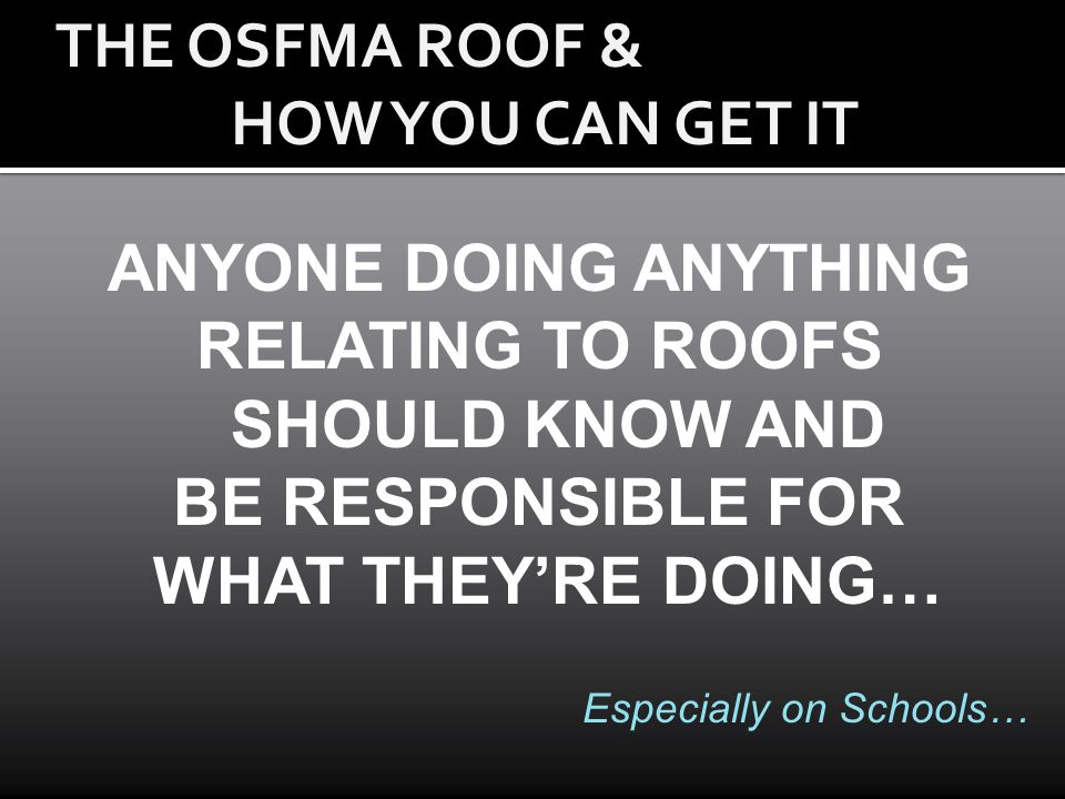 RELATING TO ROOFS SHOULD KNOW AND