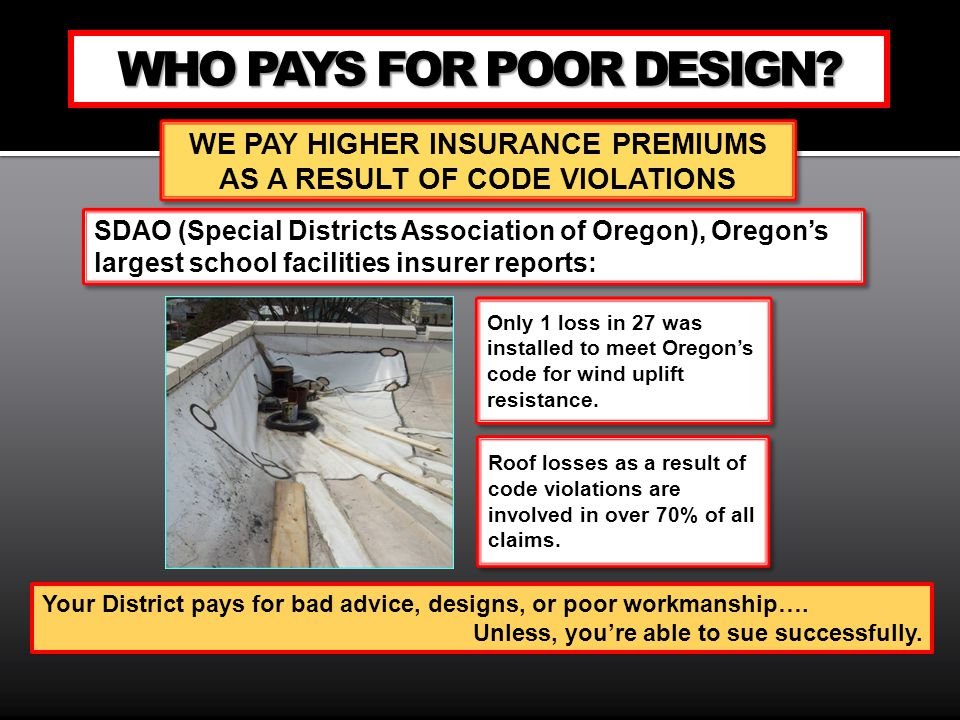 WE PAY HIGHER INSURANCE PREMIUMS AS A RESULT OF CODE VIOLATIONS