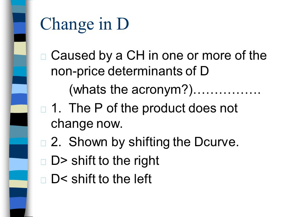 4/1/2017 Change in D. Caused by a CH in one or more of the non-price determinants of D. (whats the acronym )…………….
