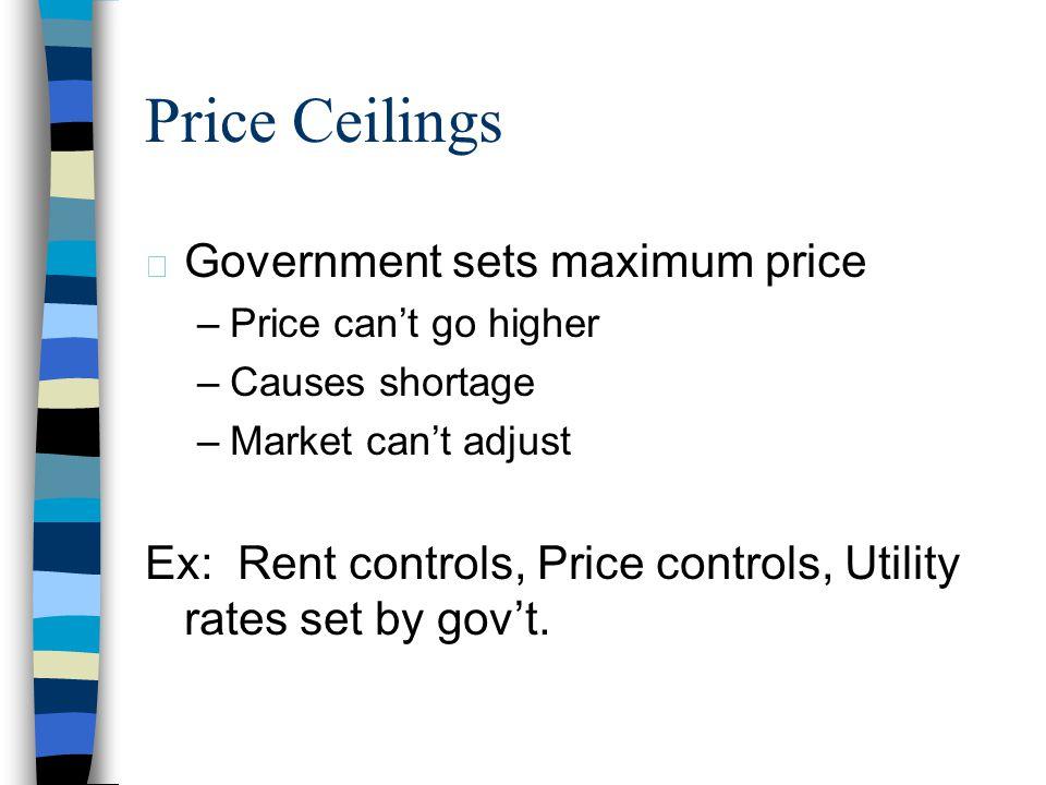Price Ceilings Government sets maximum price