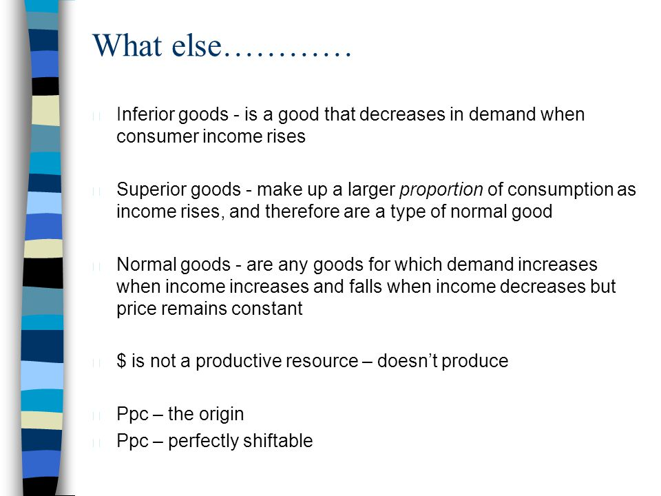 What else………… Inferior goods - is a good that decreases in demand when consumer income rises.