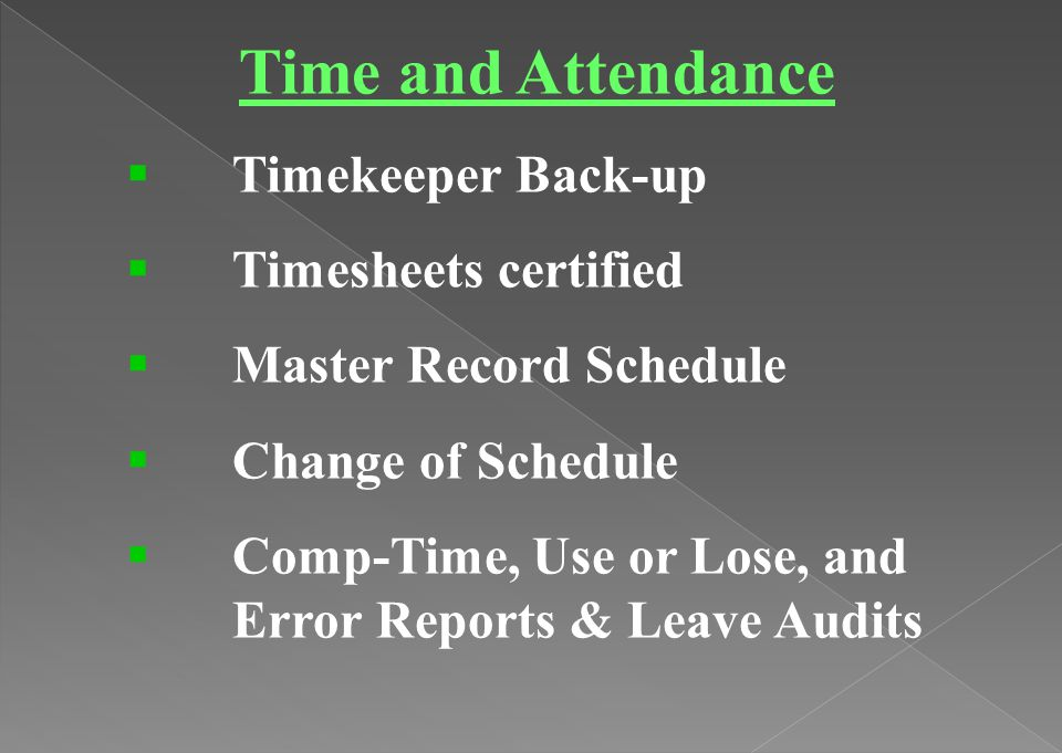 Time and Attendance Timekeeper Back-up Timesheets certified
