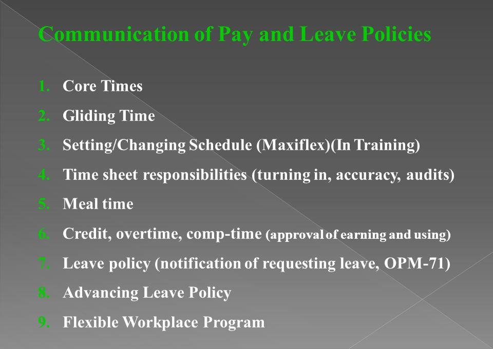 Communication of Pay and Leave Policies