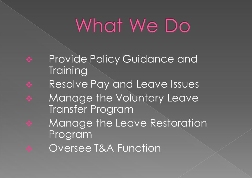 What We Do Provide Policy Guidance and Training