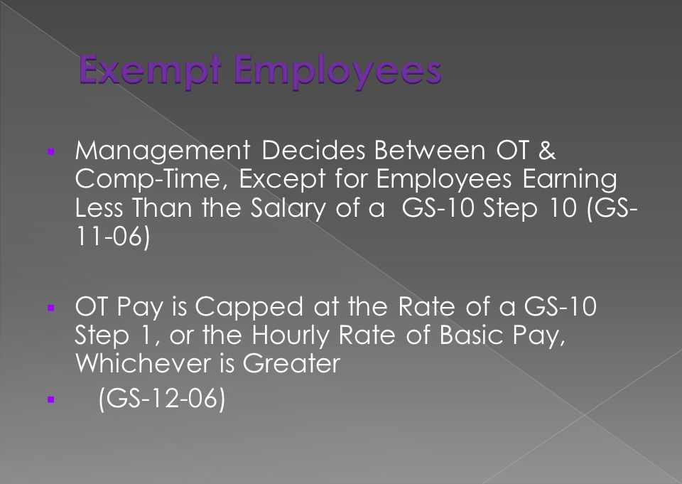 Exempt Employees Management Decides Between OT & Comp-Time, Except for Employees Earning Less Than the Salary of a GS-10 Step 10 (GS-11-06)
