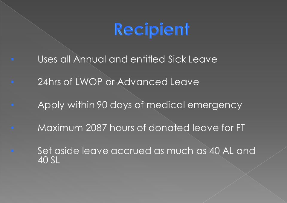 Recipient Uses all Annual and entitled Sick Leave