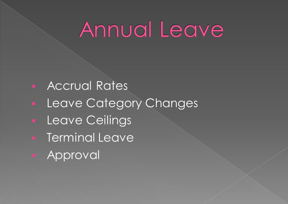 Annual Leave Accrual Rates Leave Category Changes Leave Ceilings