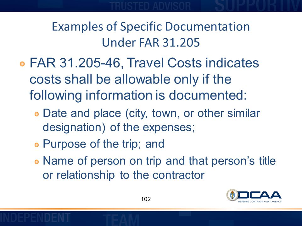Examples of Specific Documentation Under FAR 31.205