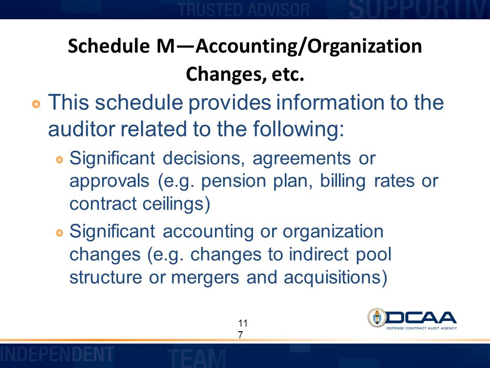 Schedule M—Accounting/Organization Changes, etc.