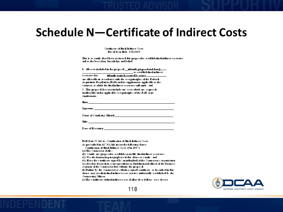 Schedule N—Certificate of Indirect Costs