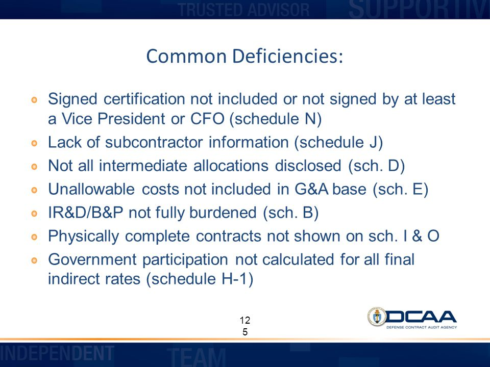 Common Deficiencies: Signed certification not included or not signed by at least a Vice President or CFO (schedule N)