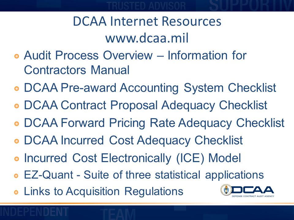 DCAA Internet Resources www.dcaa.mil