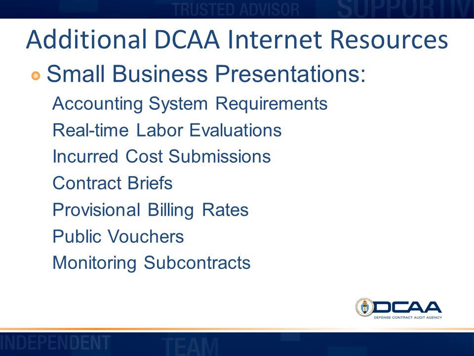 Additional DCAA Internet Resources