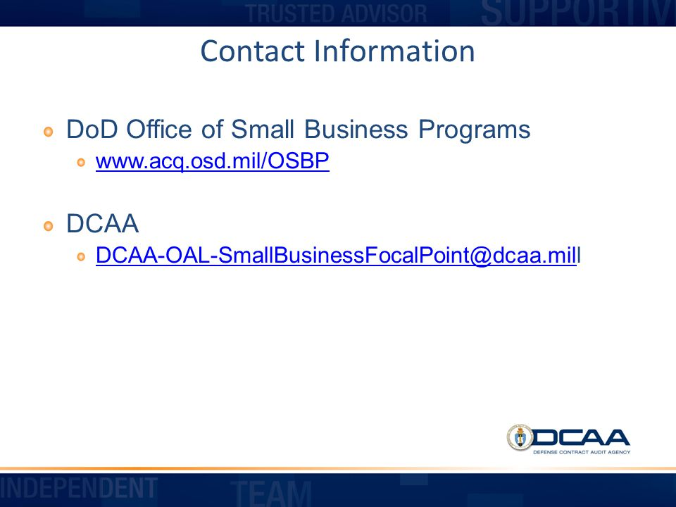 Contact Information DoD Office of Small Business Programs.