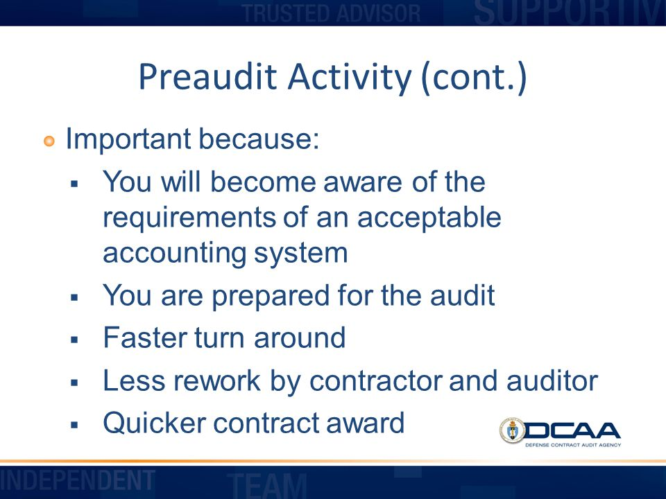 Preaudit Activity (cont.)