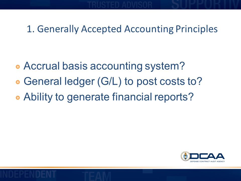 1. Generally Accepted Accounting Principles
