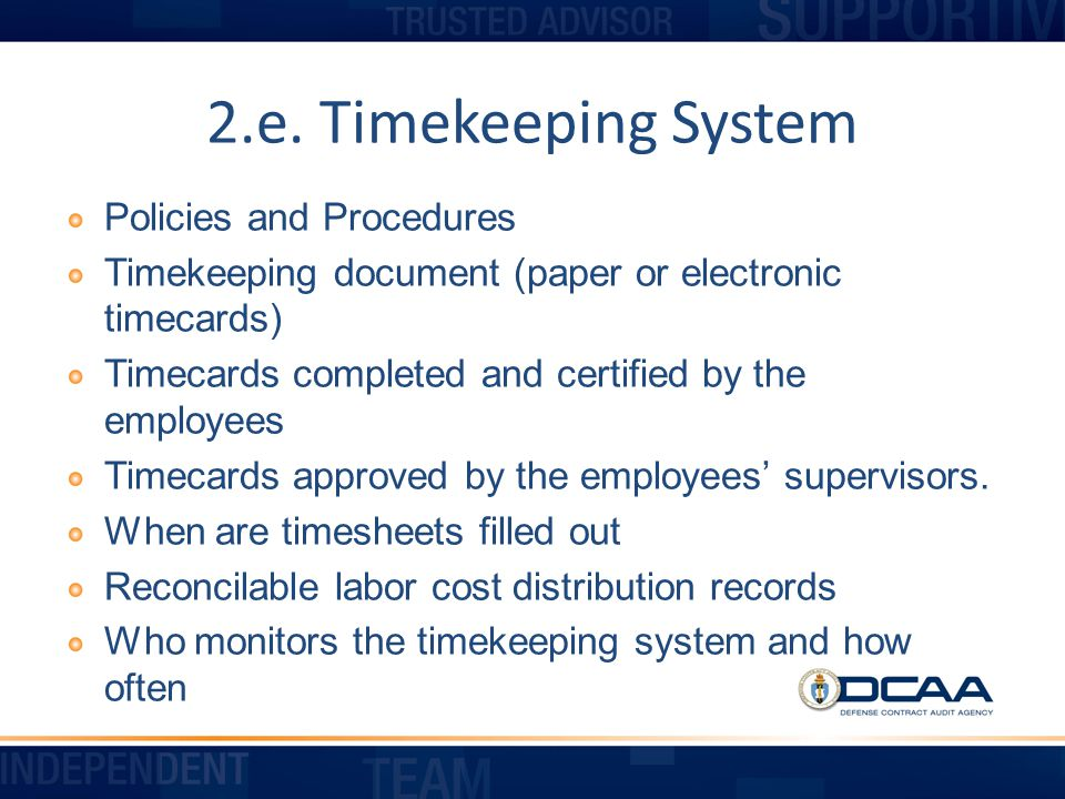 2.e. Timekeeping System Policies and Procedures