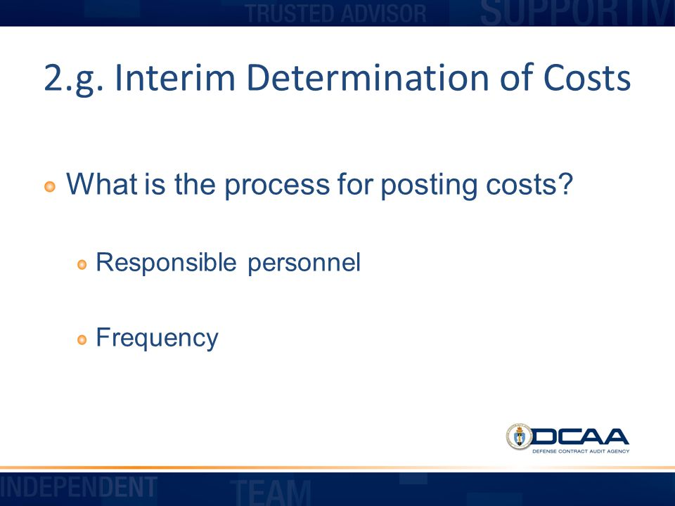 2.g. Interim Determination of Costs