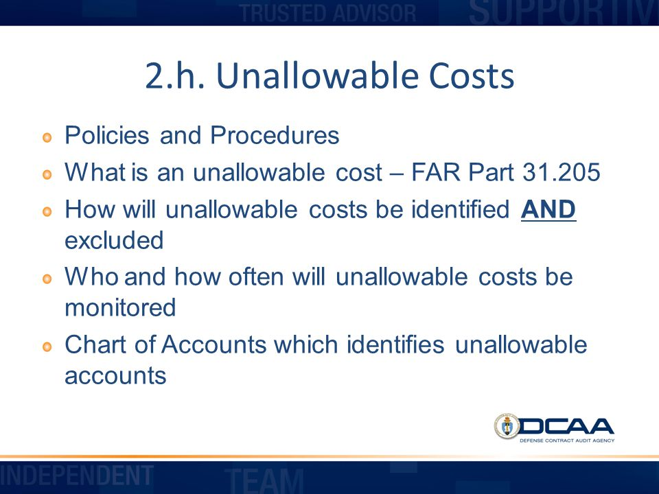2.h. Unallowable Costs Policies and Procedures