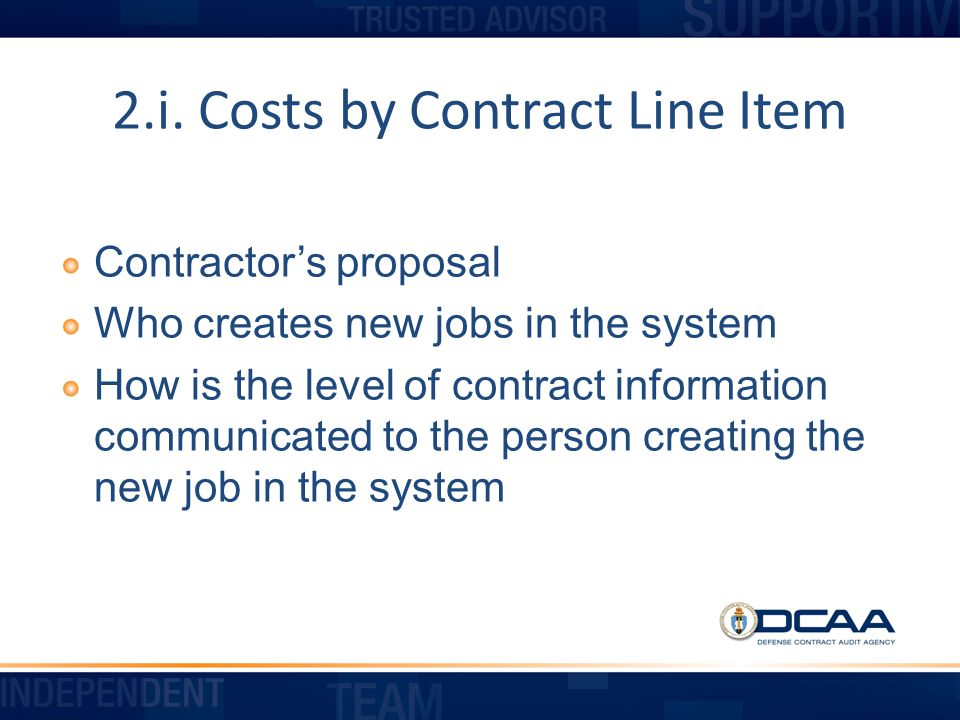 2.i. Costs by Contract Line Item
