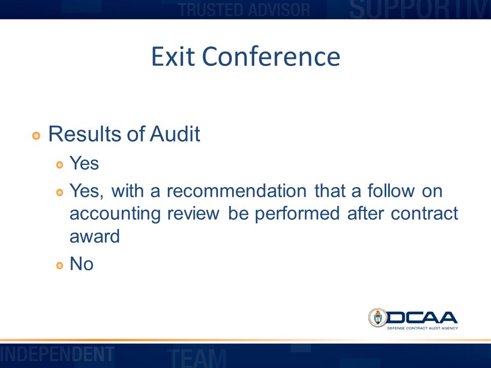 Exit Conference Results of Audit Yes