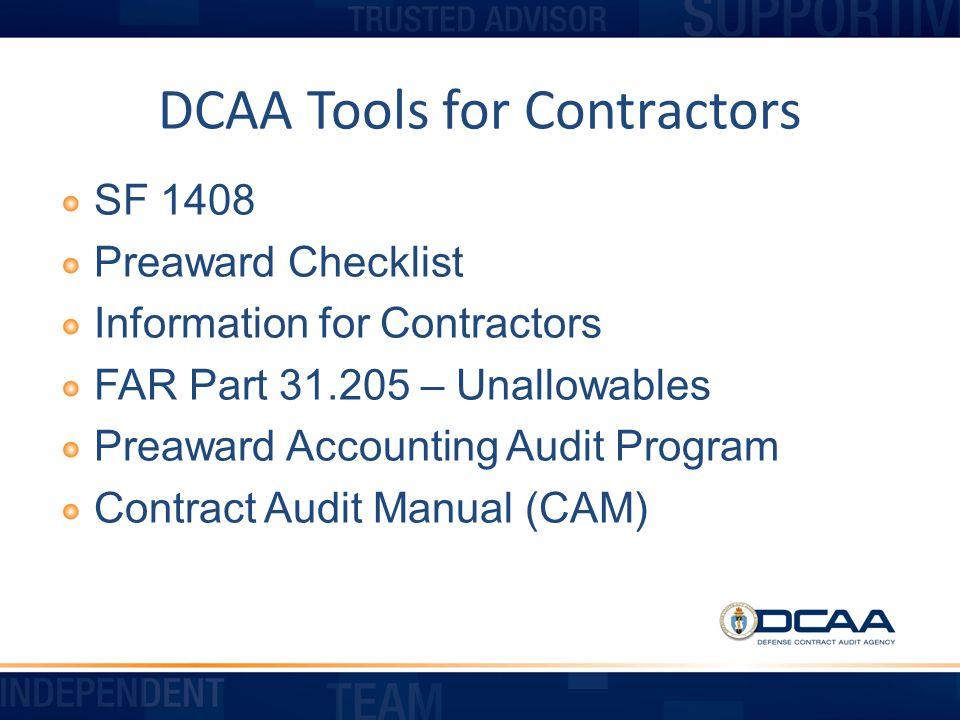 DCAA Tools for Contractors