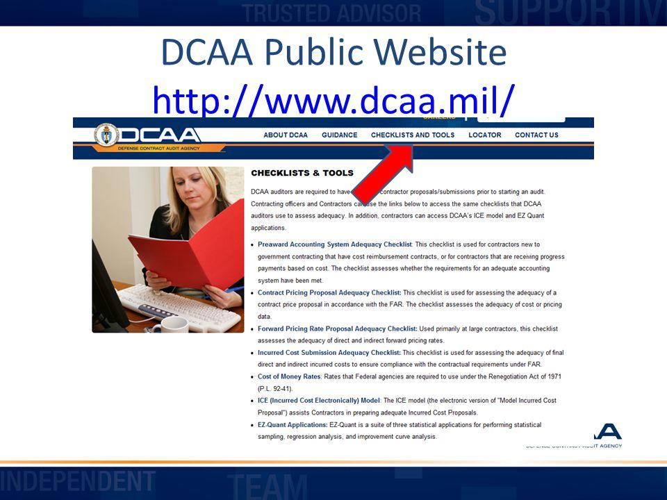 DCAA Public Website http://www.dcaa.mil/