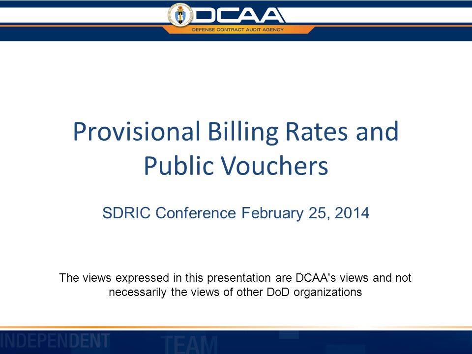 Provisional Billing Rates and Public Vouchers