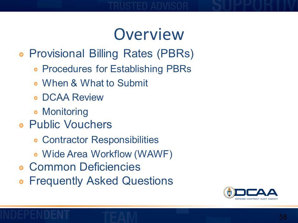 Overview Provisional Billing Rates (PBRs) Public Vouchers