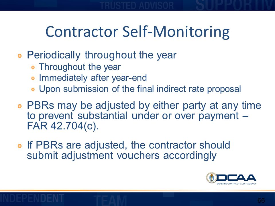 Contractor Self-Monitoring