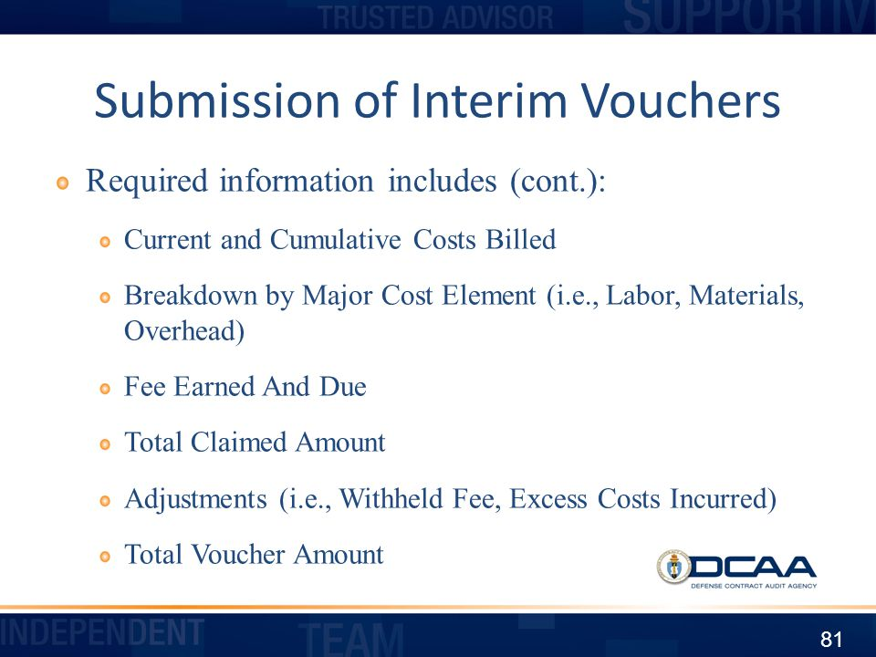 Submission of Interim Vouchers
