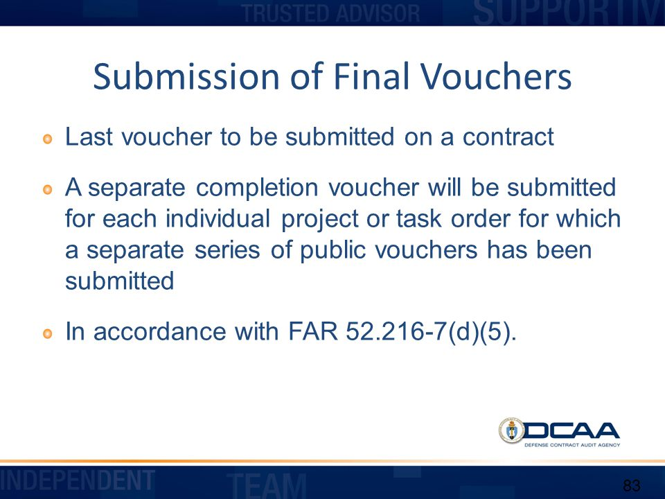 Submission of Final Vouchers