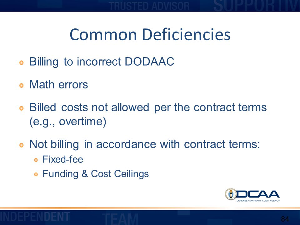 Common Deficiencies Billing to incorrect DODAAC Math errors