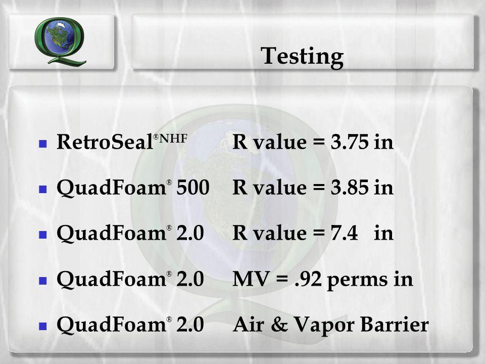 Testing RetroSeal®NHF R value = 3.75 in