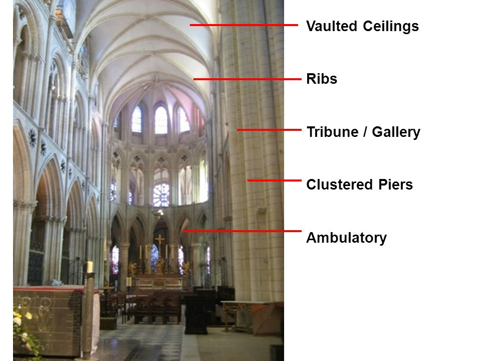 Vaulted Ceilings Ribs Tribune / Gallery Clustered Piers Ambulatory
