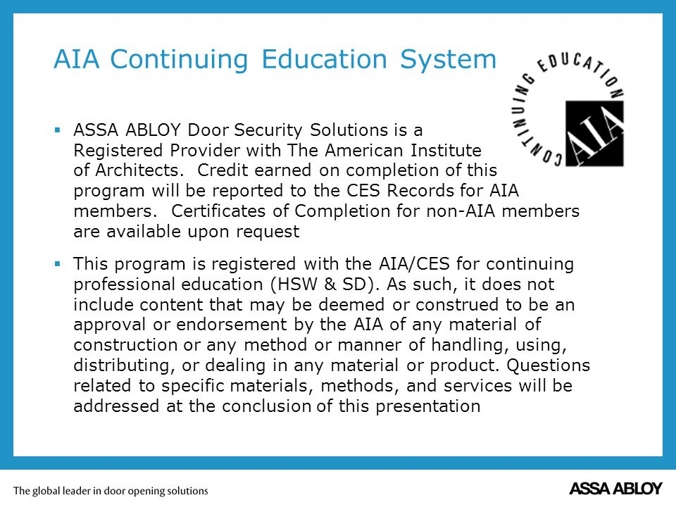AIA Continuing Education System