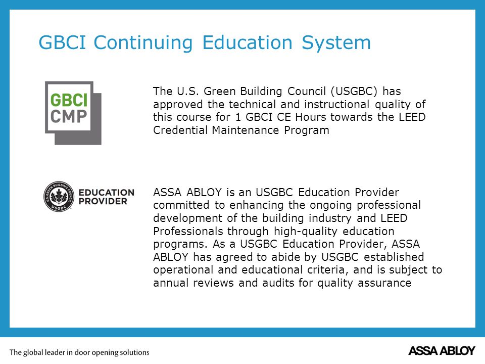 GBCI Continuing Education System