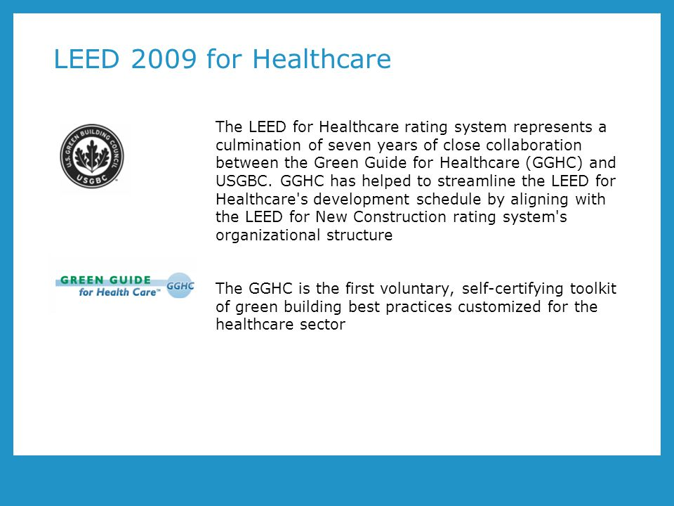 LEED 2009 for Healthcare Changed layout