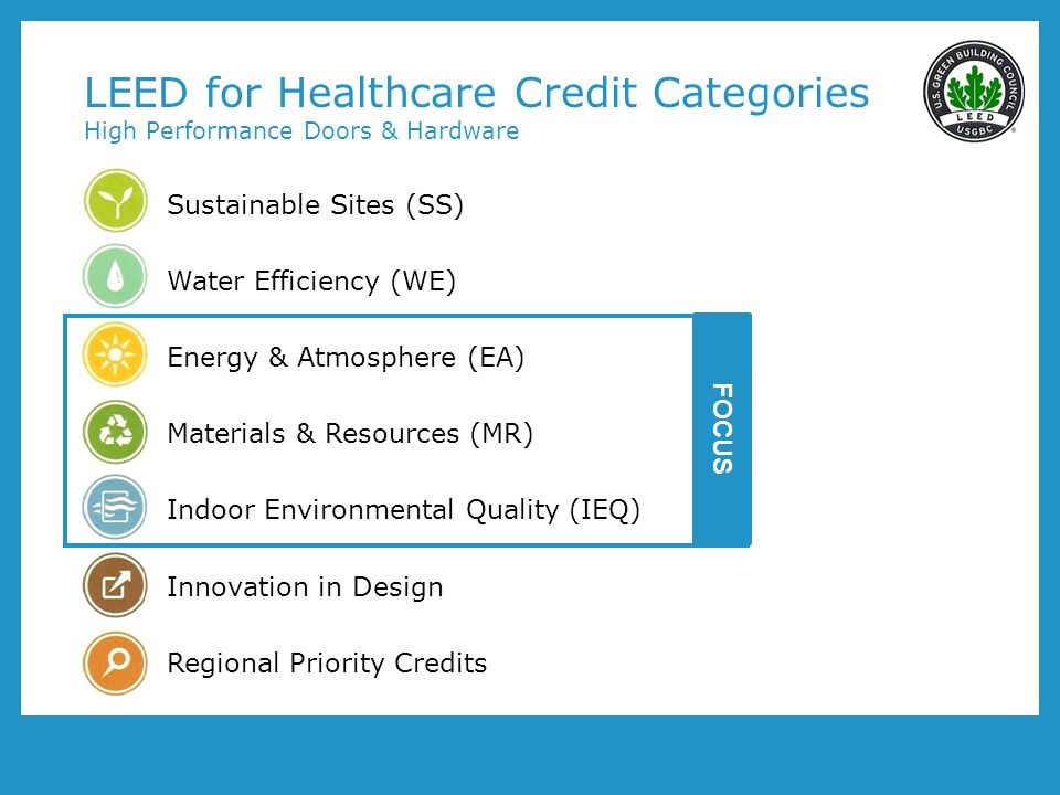 LEED for Healthcare Credit Categories High Performance Doors & Hardware