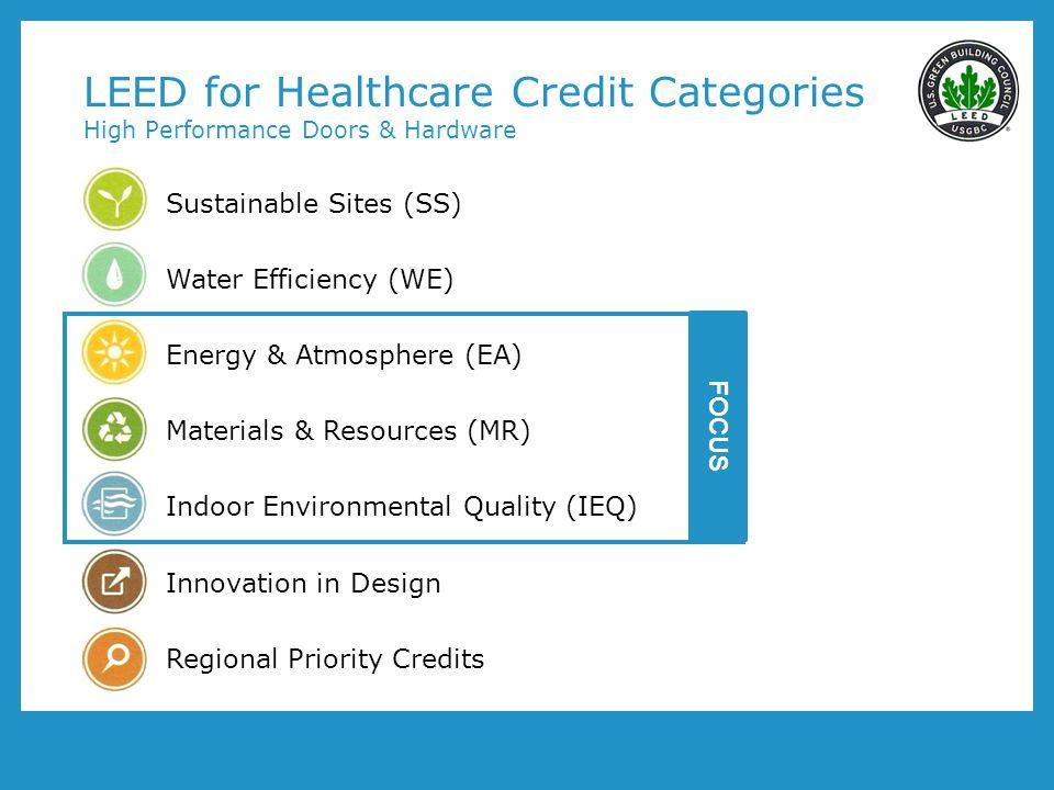 LEED for Healthcare Credit Categories High Performance Doors & Hardware
