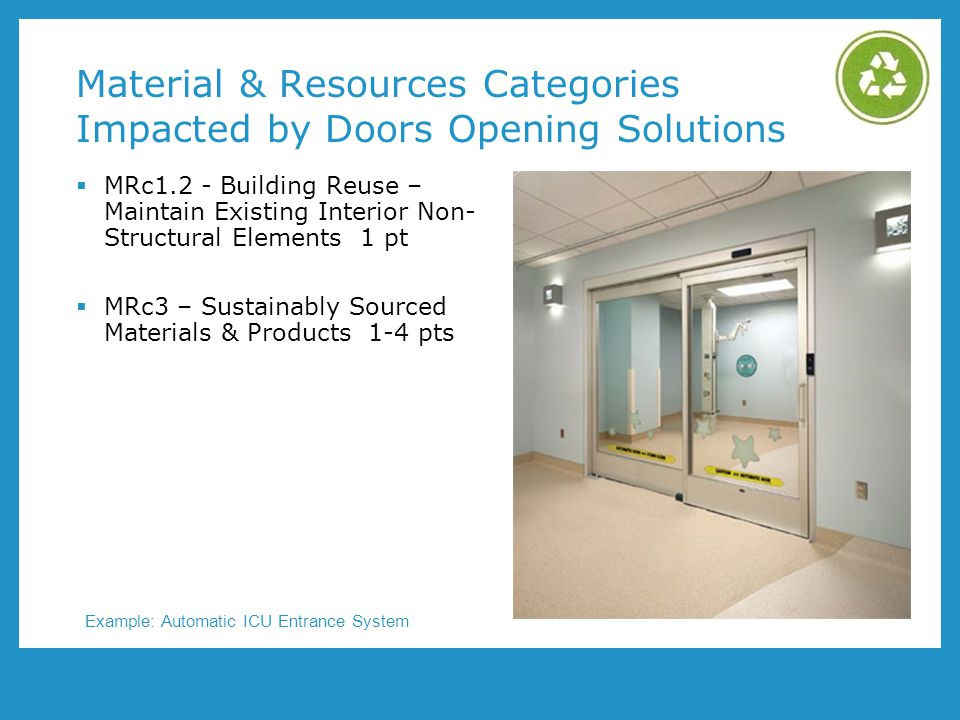 Material & Resources Categories Impacted by Doors Opening Solutions