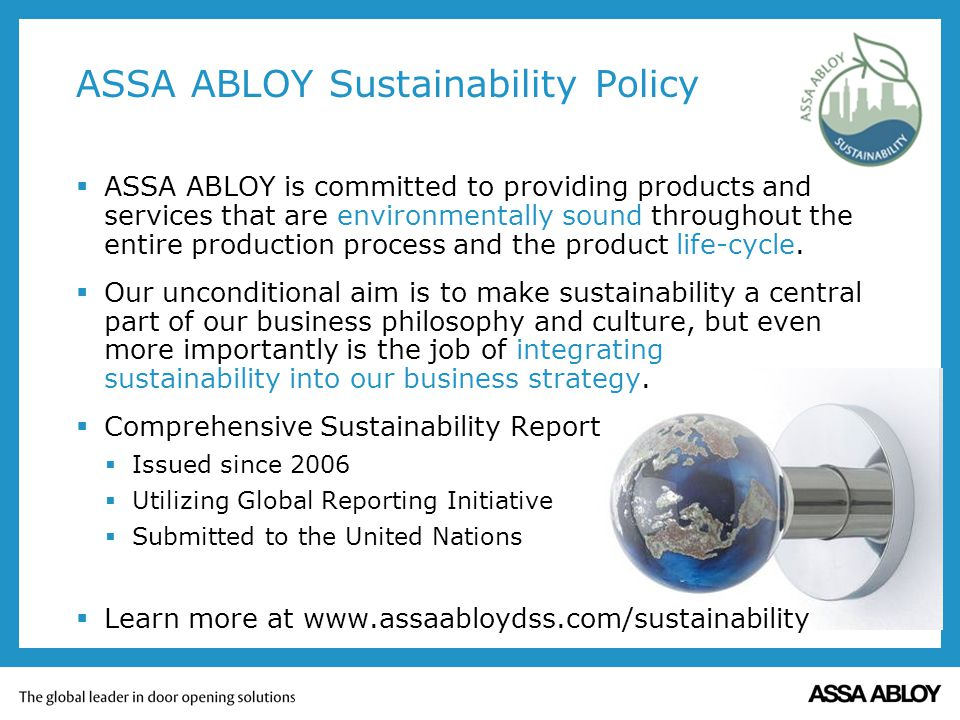 ASSA ABLOY Sustainability Policy