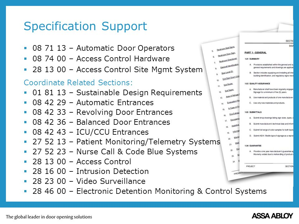 Specification Support